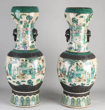 Two very large Chinese vases H 61 cm.