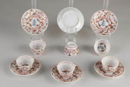 6 Chinese Family Verte cups / saucers