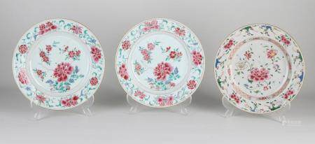 Three Chinese Family Rose plates Ø 23.2 cm.