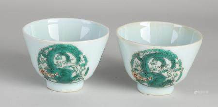 Two Chinese dragon cups