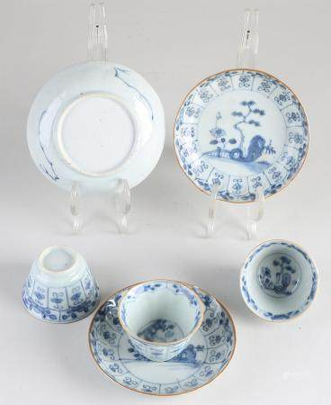 Three 18th century Chinese cups and saucers