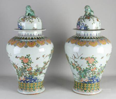 Set of Chinese Verte family vases with lid, H 65 cm.
