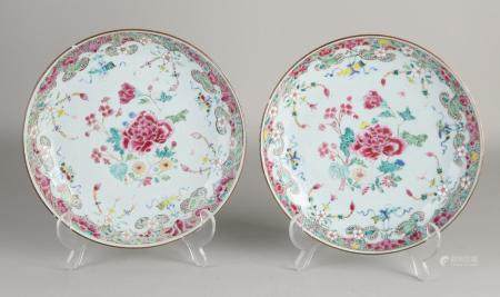 2 Chinese Family Rose plates, Ø 22.2 cm.