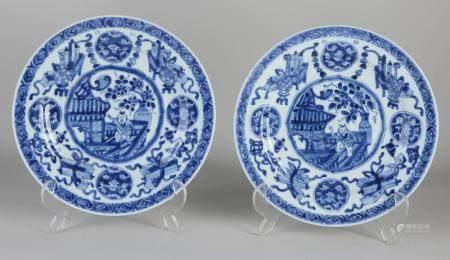 Two Kang Xi plates Ø 22.3 cm.