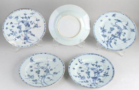 Five Chinese plates Ø 23 cm.