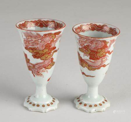 2 Chinese / Japanese wine cups