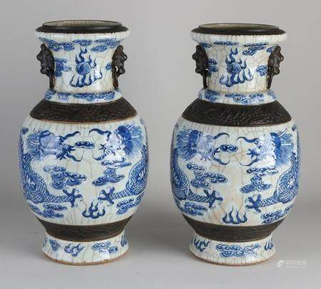 Set of Chinese vases, H 34 cm.
