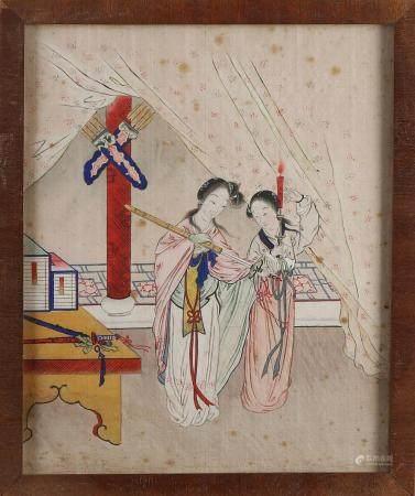 Antique Chinese silk painting, Geishas