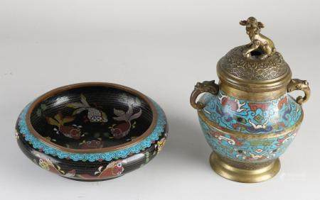Two parts Japanese / Chinese cloisonné