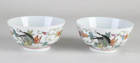 Two Chinese Family Rose bowls Ø 11.5 cm.