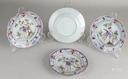 4 Chinese Amsterdam 'colorful plates, Ø 16.5 cm.