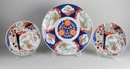 Three Japanese Imari plates