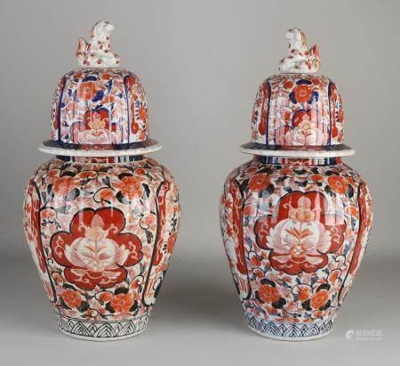 2 Imari lidded vases