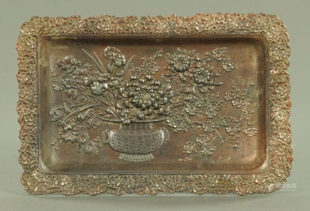 A Japanese antimony plated rectangular tray,