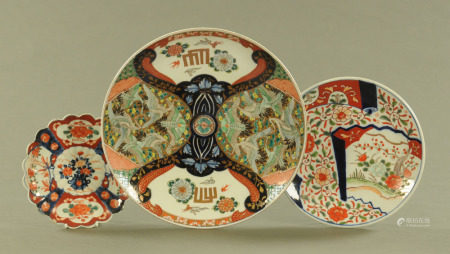 A 19th century Imari charger, decorated with cranes and other birds.