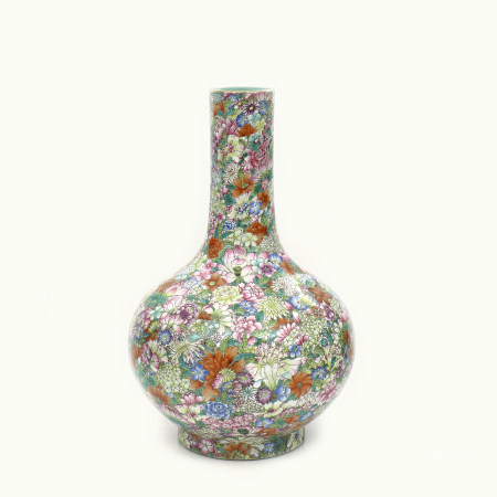 A Chinese Famille Rose Porcelain Hundred Flowers Vase With Wood Stand