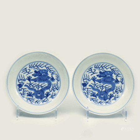 A Pair of Chinese Blue And White Porcelain Plate