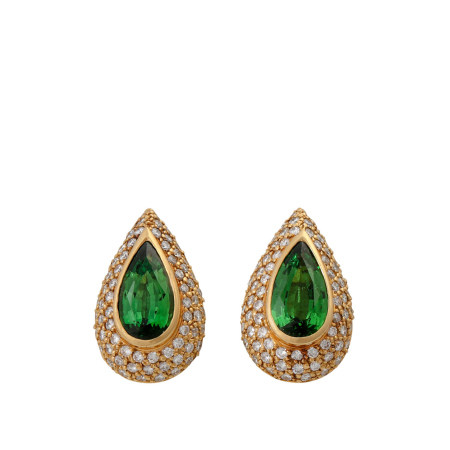 Pair of 18k gold clip ear studs with two emerald drops