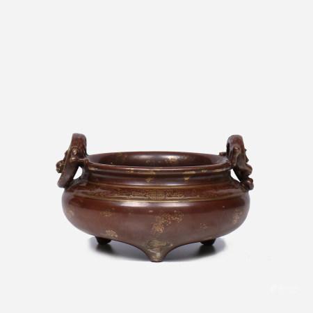 A Chinese Zijin-Glazed Censer