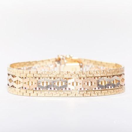 14K Gold Bracelet, white gold and rose gold.
