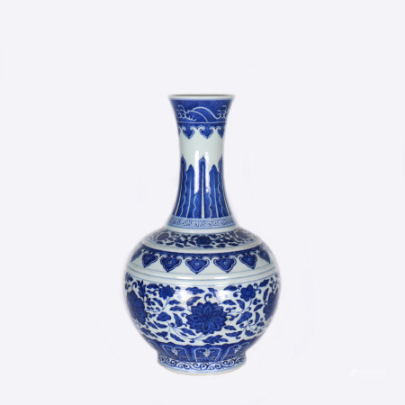 A Chinese Blue And White Porcelain Ball Vase