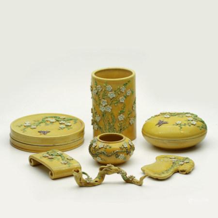 A Set of Chinese Yellow Glazed Porcelain Stationery