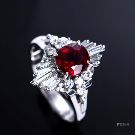 18K White Gol Ring With Untreated Ruby and diamond.