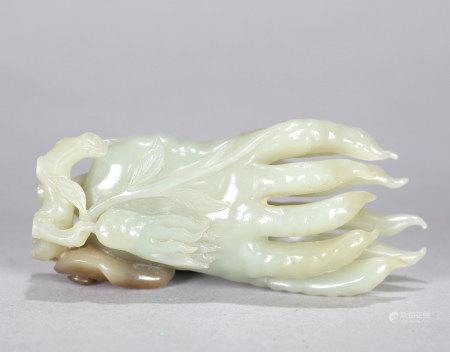 Carved White Jade Fingered Citron