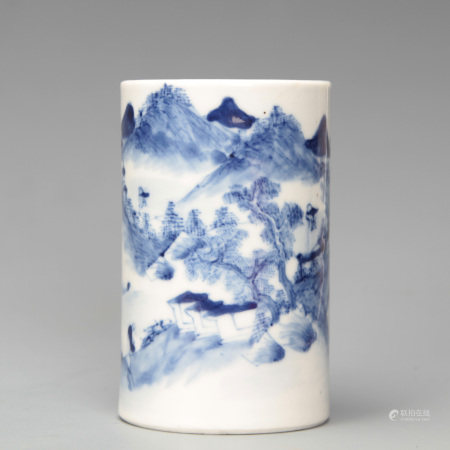 Blue and White Figures in Landscape Brushpot Late Qing Period