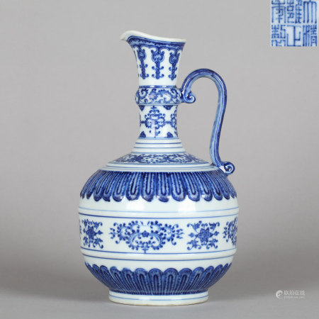Blue and White Floral Ewer Yongzheng Mark