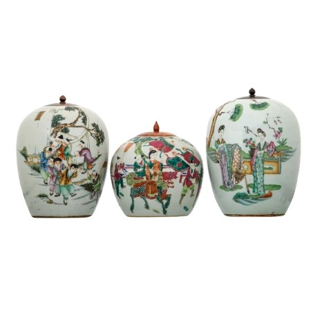 THREE CHINESE FAMILLE-ROSE 'FIGURES' JARS AND COVERS