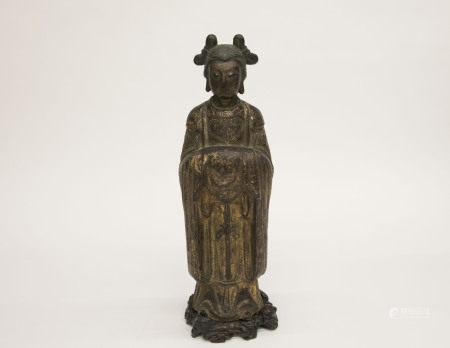 宋元時期-「匠人栗大凰造」款銅胎描金仕女像