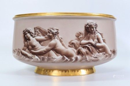 Large French Napoleon III, Oval Porcelain Planter