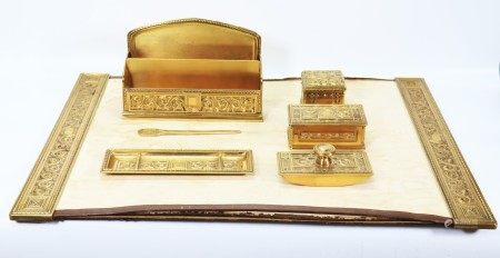 7 Part Tiffany & Co Medieval Heavy Bronze Desk Set