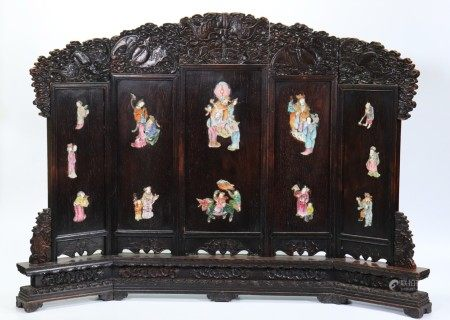 Chinese Qing Porcelain Inlaid in Black Wood Screen