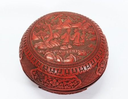 Chinese Early 19 C Cinnabar Lacquer Round Box