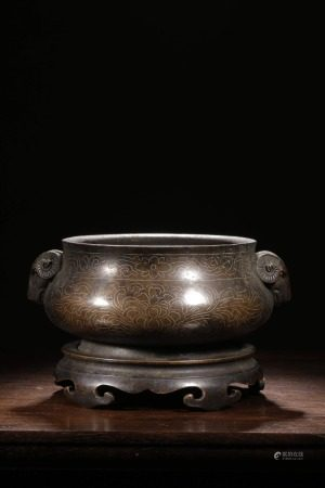 BRONZE CAST AND SILVER INLAID COMPRESSED CENSER WITH RAM MASK HANDLES