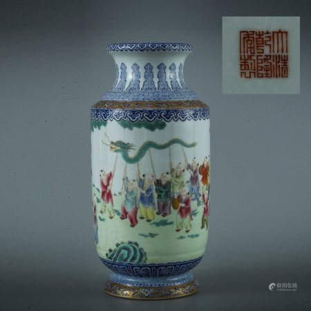 A FAMILLE ROSE GILT INLAID CHILDREN PORCELAIN LANTERN SHAPED VASE