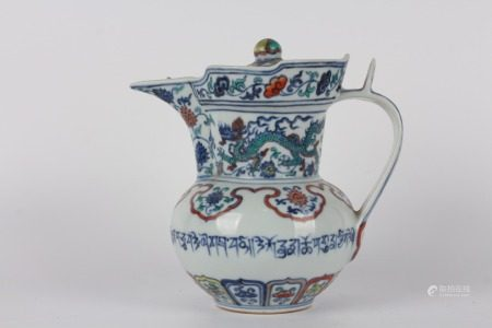 BLUE WHITE DOUCAI DRAGON POT