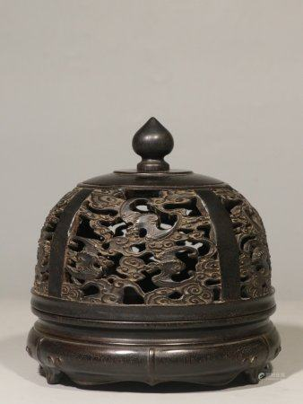 ZITAN WOOD OPENWORK CARVED DOMED INCENSE BURNER