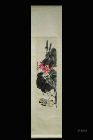 QI BAISHI: INK AND COLOR ON PAPER PAINTING 'POND SCENERY'