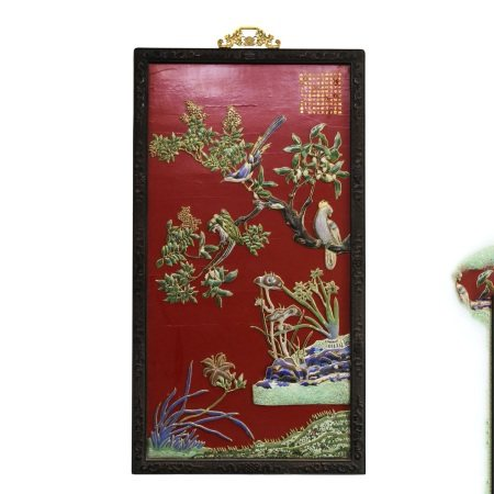 AN ENMAEL FLOWER&BIRD PAINTING INLAID PORCELAIN PLATE HANGING SCREEN