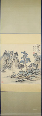 XU SHICHANG: INK AND COLOR ON PAPER PAINTING 'LANDSCAPE SCENERY'