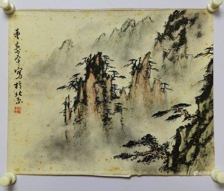 董壽平 山水 紙本鏡心