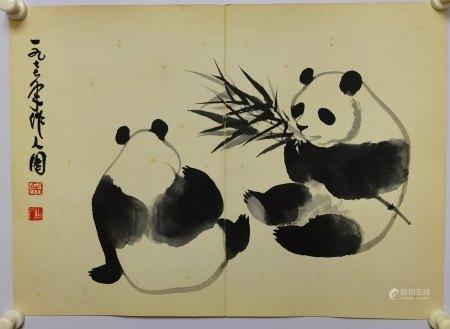 吳作人 熊貓冊頁一開 紙本鏡片