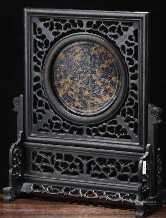 七八十年代 紅木嵌玳瑁龍紋插屏