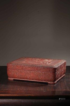 木胎朱漆剔紅文玩盒