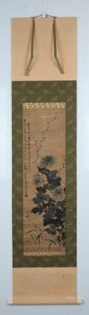 清代畫石第一人 周少白 墨菊圖 紙本立軸 舊裱