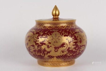 清乾隆-霽紅釉五龍描金茶葉罐