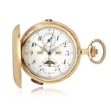 GOLD NATIONAL WATCH WITH QUARTER REPEATER, CHRONOGRAPH AND FULL CALENDAR, CIRCA 1910
